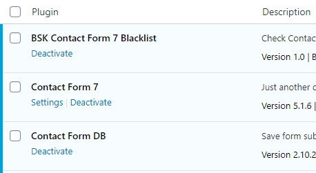 BSK Contact Form 7 Blacklist